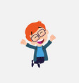 white boy with glasses jumping for joy vector image
