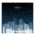 winter night in brno night city in flat style vector image vector image