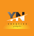 yn y n letter modern logo design with yellow vector image vector image