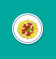spaghetti with shrimps and basil in flat style vector image
