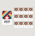 2021 calendar design template with 12 months vector image