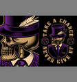 a skeleton in hat vector image vector image