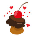 cake with chocolate cherry sweets desserts color vector image