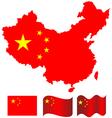 china map and flag china vector image