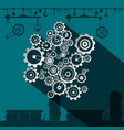 cogs and gears in factory flat design industrial vector image vector image