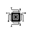 computer processor black icon sign on vector image