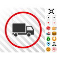delivery lorry rounded icon with bonus vector image
