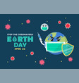 earth day stop coronavirus concept banner vector image vector image