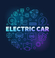 electric car round blue colored line vector image vector image