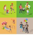Family Holiday Barbecue Hiking and Amusement Park vector image