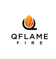 flame with letter q logo design vector image vector image