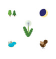 Flat icon natural set of bird floral pond and
