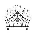 glamping tent grunge logo vector image vector image