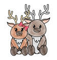 grated reindeer couple cute animal together vector image