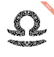hand drawn black ornate horoscope symbol - libra vector image