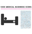 hospital bed icon with 1300 medical business icons vector image vector image