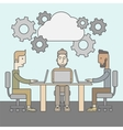 Image of business partners discussing documents vector image