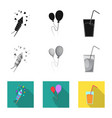isolated object of party and birthday sign vector image vector image