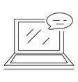 laptop chat icon outline style vector image