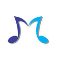 letter m music note logo icon vector image vector image