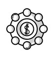 line marketing with coin strategy company symbol vector image