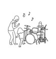 man playing drum and his wife and girl dancing vector image