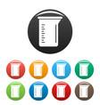 measurement pot icons set color vector image