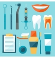 Medical dental equipment icons set in flat style vector image vector image