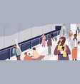 people waiting for train on metro platform vector image