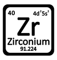 Periodic table element zirconium icon vector image vector image