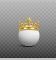 realistic white golf ball with shiny golden crown vector image vector image