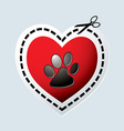 red love heart with dogs paw vector image vector image