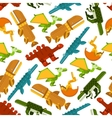 Seamless dinosaurs and prehistoric animals pattern vector image vector image