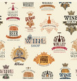 seamless pattern with labels logos stickers vector image