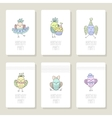 Set cards with cute birds in different actions vector image vector image