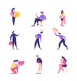 set male and female business people working vector image vector image