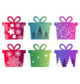set of christmas boxes with a pattern and vector image