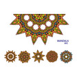 Set of colorful mandalas decorative round