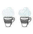 Set of Decorative Cups of Tea vector image vector image