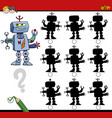 shadow differences game with robot vector image vector image