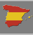 spain map with the spanish flag vector image vector image
