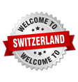switzerland 3d silver badge with red ribbon vector image vector image