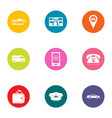 taxi call icons set flat style vector image vector image