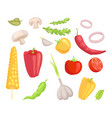 vegetables veggies icons set vector image