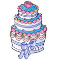 wedding cake with ribbon vector image vector image