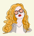 brown hair girl with glasses vector image