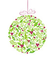Holly Christmas watercolor bauble greeting card vector image