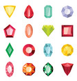 jewels set in cartoon flat stile vector image
