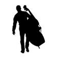 musician holding the big cello vector image