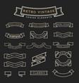 set of retro vintage ribbon design elements vector image